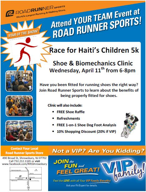Join us for Road Runner Sports Clinic and Raise donataions by just showing up!